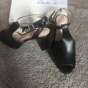 Clark peep toed  heeled sandals